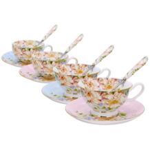 3 шт./компл. костяного фарфора кофейная чашка ложка для блюдца Набор красивая цветочная керамическая кружка фарфоровая чайная чашка кафе посуда для вечеринки экологичная YKPuii 32988394587