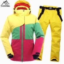 зима лыжный костюм Для женщин Водонепроницаемый Женская лыжная куртка для сноубординга брюки Термальность Дышащая дешевые открытый Mountain лыжный набор SAENSHING 32831857371