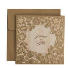 50 шт./лот золотые цветы Бумага картон лазерная резка свадебные Приглашения карты для девичника брак Обручение, настраиваемый Wishmade 32668937104