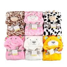 3D одеяло для новорожденного мультфильм животных Детский Халат фланелевый с капюшоном пеленать Конверт одеяло для младенца полотенце Характер банный Халат JUST CUTE 32767613255