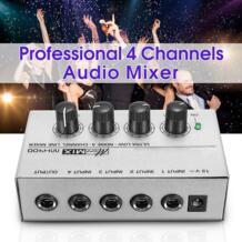мини портативное караоке аудио микшер MX400 микро-смеситель низкая Шум 4 Каналы линии моно аудио смеситель DC 12 V для Семья KTV LEORY 32908796639