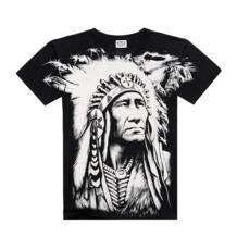Новая футболка s Cool 2016 модная Мужская хлопковая футболка с 3D принтом индийского персонажа мужские топы хип-хоп Футболка Rocksir 32330079747