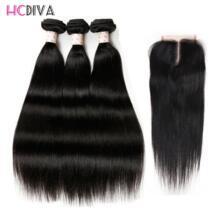 Бразильский прямо с закрытием 3 Связки 100% Remy человеческих волос Связки с закрытием натуральный черный Цвет волос HCDIVA No name 32833613602