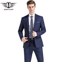 мужские костюмы 2018 последние конструкции пальто брюки свадебные костюмы для мужчин брендовая одежда Slim Fit Черные синие мужские s формальный костюм Q91 plyesxale 32748859974