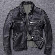 Бесплатная доставка. Подарок от продаж Новая мужская куртка из бычьей кожи. Зимняя Теплая мужская куртка из натуральной кожи. Винтажная Стильная мужская кожаная куртка, VANLED 32861617009