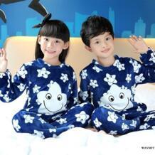 /весенне-зимняя детская флисовая Пижама теплая фланелевая одежда для сна для девочек детская пижама из кораллового флиса домашняя одежда, пижама WAVMIT 32849499431