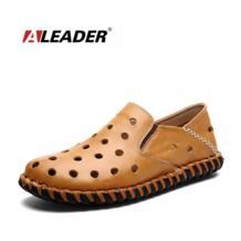 Aleader ручной работы мужские Обувь кожаная для девочек повседневные Лоферы Модная Летняя обувь коллекции 2016 г. для человека плоским слипоны обувь для вождения мокасины No name 32647664567