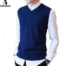 M-3XL 100% хлопок свитер для повседневной носки Для мужчин мужской свитер жилет Для мужчин трикотажные рукавов Для мужчин свитер V Средства ухода за кожей Шеи Рождественский свитер с оленями No name 32800749695