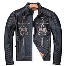 2019 Винтаж Черный для мужчин черепа Байкерская кожаная куртка плюс размеры 4XL из натуральной толстой коровьей Slim Fit мотоциклетное пальт MAXMACCONE 32907432547