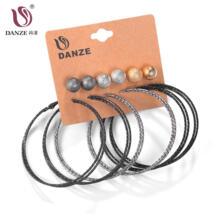 6 пар в стиле панк черный серый комплект серег-колец для женщин Женская мода Большой Круг Staines Brincos Ювелирные изделия Pusety Aros DANZE 32355421882