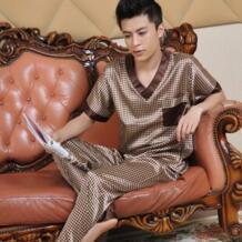 Мужская Летняя шелковая пижама с коротким рукавом 2019 роскошная шелковая пижама мужская одежда Повседневный Набор для завтрака домашняя одежда geluo 32794550773