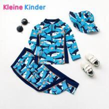 Для маленьких мальчиков купальники дети мальчик купальник Акула печати одежда с длинным рукавом Гидромайки пляжная одежда для купания наряды солнцезащитный UPF50 + No name 32858253680