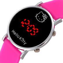 Кошка мультфильм часы Hello Kitty Детские часы Дети Led дисплей Девушка наручные Дети ребенок часы милые Силиконовые Relogio Enfant Baosaili 32764347353