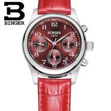 Подлинная Швейцария BINGER бренд женский кожаный ремень водонепроницаемый платье часы Модные женские формы красный календарь часы Бесплатная доставка БИНГЕР 32237182109