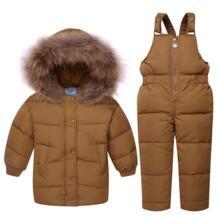 Детская куртка для маленьких девочек и мальчиков, пуховые комплекты одежды для маленьких мальчиков, теплая куртка с капюшоном и длинными рукавами для мальчиков 1, 2, 3 лет Kabeier 32881129851