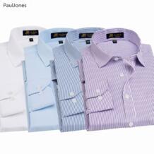 Осень Роскошные Качество с длинным рукавом для мужчин Мужская классическая рубашка хлопок белый черный классический социальных Бизнес рубашка мужской Китай PAULJONES 32821279927