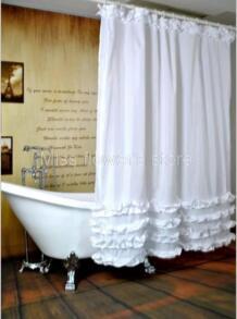 Белый трепал платье принцессы Дизайн душ Шторы Ванная комната Водонепроницаемый mildewproof полиэстер Ткань с 12 Крючки 180 см * 180 см No name 32390448982