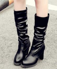 Новая корейская модель зимних сапог до колена высокие сапоги гусарские высокие сапоги мягкая кожа новая модель женских сапог на высоком каблуке No name 32407562697