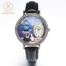 3d глина милые винтажные Ретро Купер Bule птица горный хрусталь часы Relogio Feminino женские кожаные Наручные часы 1011 MISS KEKE 32764999665