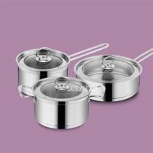 Новые горячие кастрюли анти-горячий горшок высокого качества из трех частей наборы кастрюля, сковорода супа горшок для молока три набора индукционной плиты ZJMZYM 32860523897