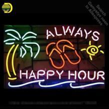 Неоновая вывеска для всегда Happy Hour Palm Tree неоновая лампа знак неоновые огни знак стеклянной трубки знаковых лампы яркая лампа С логотип No name 32869734455