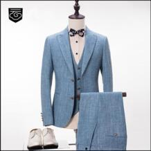 Пользовательские модного бренда Для мужчин Костюмы синий Стиль Slim Fit Пиджаки для женщин Бизнес Формальные Для мужчин костюм свадебные смокинг мужской Жених выпускного вечера 3 предмета No name 32837742314
