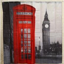 Акция 1 шт. 180 * 180cm3D водостойкая полиэфирная занавеска для душа Лондон Биг Бен патт с 12 пластиковыми крючками домашняя ванная занавеска s No name 32633406327