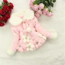 Рождество Зима младенческой Искусственный мех кролика волосы Пальто для будущих мам маленьких Обувь для девочек цветок теплый хлопок Куртки дети плюшевые бархатные Толстая одежда верхняя одежда No name 32745900226