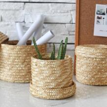 Японский стиль корзины для хранения ручной работы трава пшеницы креативный Фруктовый Хлеб еда Picni корзина Отсек Корзина OUSSIRRO 32762186788