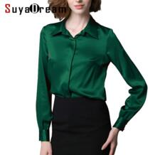 Женская шелковая блуза с длинным рукавом, Однотонная рубашка, Blusas femininas, офисные женские блузки, на заказ, большие размеры 2019, Весенняя рубашка SuyaDream 32262086261