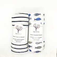 Рыбий черный полосатый Детский муслин пеленать для предотвращения загрязнения мультфильм печатных хлопок детское мягкое воздухопроницаемое одеяло для новорожденных karitree 32811230255