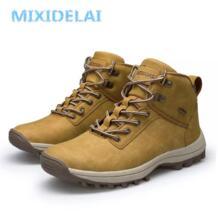 2019 Брендовые мужские ботинки, большие размеры 39-46, осенне-зимние мужские кожаные модные кроссовки на шнуровке, уличная мужская непромокаемая обувь MIXIDELAI 32857407107
