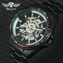 2018 победитель для мужчин автоматические механические часы черный нержавеющая сталь ремешок Скелет циферблат топ Элитный бренд дизайн н T-winner 32380062289