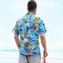 Гавайская рубашка с коротким рукавом, летние пляжные рубашки для влюбленных, размер США, хлопковые повседневные рубашки с рисунком для мужчин и женщин, A798 Mairuker 32580152090