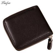 Высококачественный кошелек из натуральной кожи на молнии с карманом и держателем для карт, черный кошелек для монет из натуральной кожи Luufan 32450617955