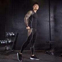 Компрессионная одежда для мужчин беговые костюмы тренажерный зал колготки тренировочная рубашка беговая рубашка мужская футболка Леггинсы Спорт фитнес crossfit Day south valley 32889007564