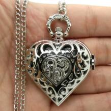 Серебро полые Кварцевые в форме сердца карманные часы ожерелье стимпанк час кулон женский подарок P72 YISUYA 32218514248
