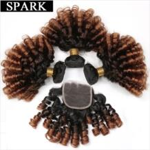 1B/4/30 и 1B/4/27 и 1B Ombre бразильский Надувной вьющиеся ткань человеческих волос Связки с кружевом закрытия свободной части парик из волос Реми Spark 32842377113
