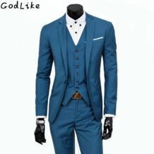 Новый 2017 для мужчин s светло серый костюмы, куртки, брюки торжественное платье вечерние костюм комплект свадебные костюмы жениха смокинги дл GODLIKE 32824001226