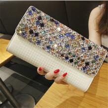Qiaobao 2018 новые свадебные Алмазный бисера клатч вечерняя сумочка из лакированной кожи сумка со стразами сумка No name 32376260371