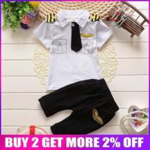 Мальчики Одежда пилота новый летний комплект одежды для мальчиков детская Милая одежда пуловер костюм Повседневная футболка + шорты BibiCola 32734261928