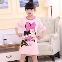 Ночная рубашка для девочек новый 2019 Летняя мода Принцесса платья с героями мультфильмов дети спят платье из хлопка для девочек подарок детские пижамы прекрасный No name 32854368479