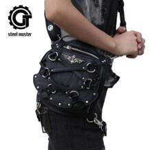 2017 сталей мастер женский, черный Винтаж мини сумка заклепки дорожные сумки на плечо мобильный телефон Fanny Pack панк Поясные сумки No name 32804251897