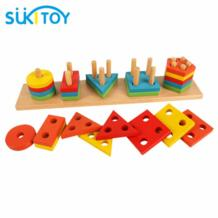 Деревянные игрушки блоки Развивающие мягкие Монтессори детей интеллектуальные творческие интерактивные игрушки формы и цвета обучения WD010 No name 32593985813