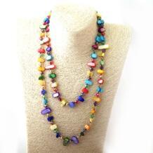 Бесплатная доставка Модное Длинное Узловое Halsband Радужный цветной кристалл и ожерелье с раковинами RED HERRING BY PENG CHANG PC 32810164974