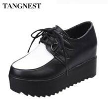 Tangnest/Женская обувь на толстой резиновой подошве, однотонная обувь на плоской подошве из PU искусственной кожи на шнуровке, обувь на платформе с прострочкой, Женская весенне-летняя модная обувь на плоской подошве, XWC039 No name 2013122755