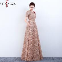 с карманами модное кружевное платье цвета хаки для выпускного вечера Простой в пол праздничный официальный вечерний наряд YIDINGZS 32852230856