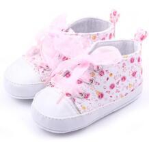 Детская обувь для девочек, хлопковое платье с цветочным принтом для детей, на мягкой подошве для малышей, которые делают первые шаги; шнуровка Демисезонный ботиночки для самых маленьких Kacakid 32428447323