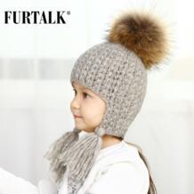 зимняя детская шапка ушанка для девочки и мальчика с натуральным меховым помпоном головные уборы B023 FURTALK 32833890469