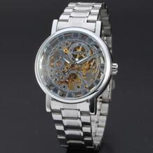Классический бренд победитель Мужчины Скелет механические часы Прозрачный стимпанк рука ветер полностью из нержавеющей стали Montre Homme наручные часы T-winner 32659653943